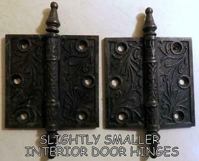 "2 Large 3½x3½"" Ornate Antique Victorian Cast Iron Interior Door Hinges c1880s"