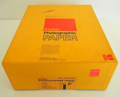 Vtg NOS Sealed Box KODAK Polycontrast F Rapid 250 Sheet 8x10 PHOTO Print PAPER