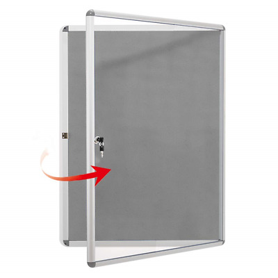 MAKELLO Lockable Notice Board Message Pin Board with Door and 2 Matching Keys,