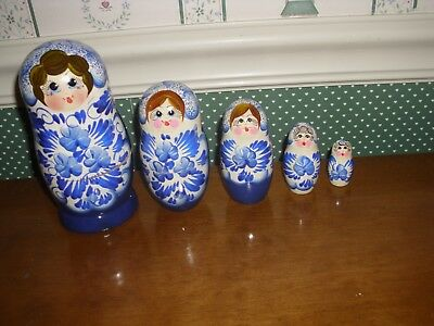 "Gabriella's Gifts-6"" Russian Nesting Dolls-6""H-5Pc Set-B-Blue-As Shown New-2018"