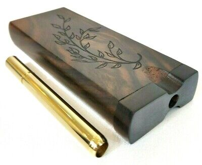 Ebony Wooden Branch #2 Dugout One Hitter Stash Box + 100% Brass One-Hitter Pipe