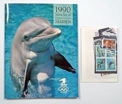 US 1990 MINT NH Complete Commemorative Year Set of 37 Stamps Sealed w/ Yearbook
