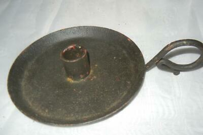 """Antique 1 1/4"""" Wrought Iron Finger Hold Candle Holder Primitive 18Th C."""