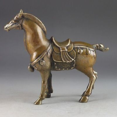 Chinese Collect Brass Old Handwork Hammered Steed Superb Lucky Statue YT