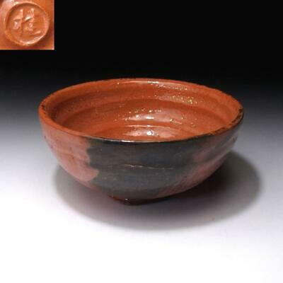 XG2: Vintage Japanese LARGE Pottery Tea Bowl of Raku ware, AKA RAKU, 5.7 inches
