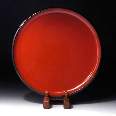 HE11: Vintage Japanese Wooden Serving Tray, Ryukyu Lacquer Ware, 10.6 inches