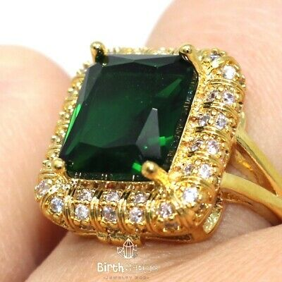 Sparkling Cushion Green Emerald Halo Ring Women Jewelry 14K Yellow Gold Plated