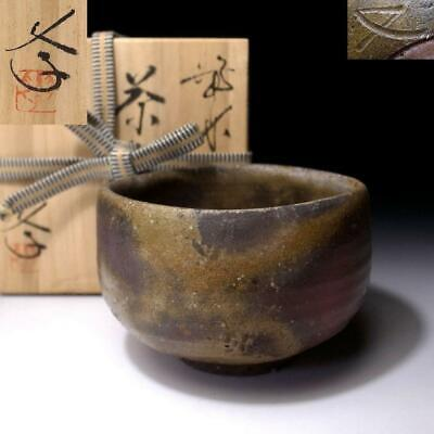 HA15: Vintage Japanese Pottery Tea bowl, Bizen ware with Signed wooden box