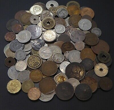 Old world coin lot to identify, copper, bronze, 1800's 1900's.