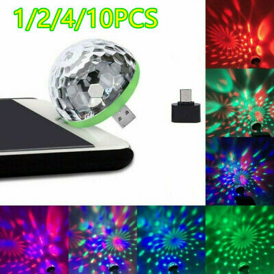 USB Mini 4-LED Disco Stage Light Party Club DJ KTV Magic Lamp Ball LED Car Lamp