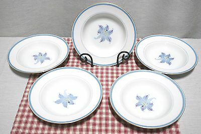 RARE! LOT of 5 Narumi China OCCUPIED Japan RHAPSODY Blue Lily Rimmed Soup Bowls