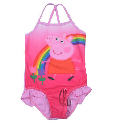 AU SELLER Girls Kids Pink Peppa pig Swimwear One Piece Swimsuit Beachwear gs012