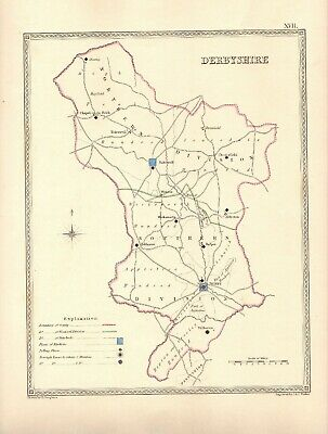 Antique Map ~ COUNTY ELECTION for DERBYSHIRE ~ 1835