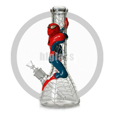 """Glow in the Dark Glass Bong 12.5"""" Hookah Water Pipe """"SPIDER MAN THEME"""" Spide Web"""