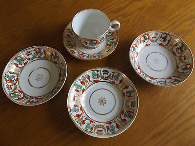Derby Hand Painted Red,Green & Gold Scrolls Porcelain Teacup 2 Saucers & 2 Bowls
