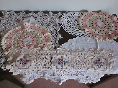 Vintage doilies crochet embroided white cream pink blue gorgeous ~~ ruemiraldi