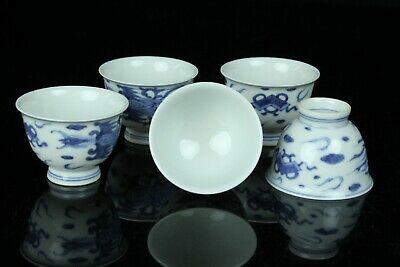 Jun110 Japanese Kyoto  Blue&White Porcelain 5 Sencha Tea Cup Marked