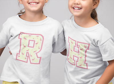 Girls Flamingo Print Letters Fashion T-Shirt Alphabet Initial Gift Kids Top Tee