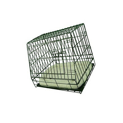 Slanted Front Dog Crate Sloping Puppy Car Cage Folding NonChew Metal Tray Fleece