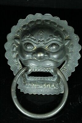 Aug065 Rare Korean Bronze Door Knocker Foo Dog Lion Type