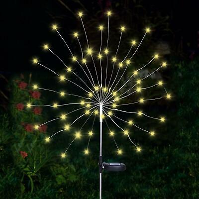 90 LED Solar Powered Firework Starburst Stake Light Warm White Garden Outdoor