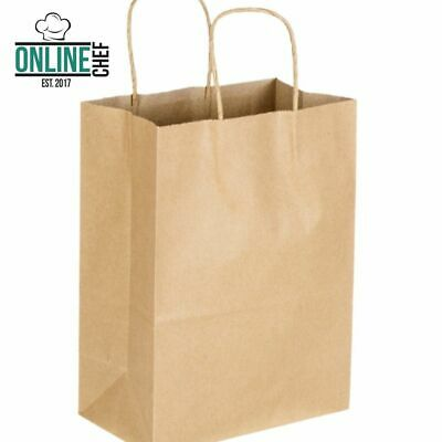 "250 Natural Brown Kraft Paper Shopping Bags with Handle, 8"" x 4 1/2"" x 10 5/8"""