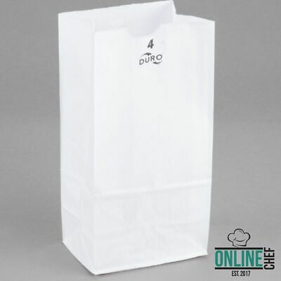 (500-Pack) 4 lb. White Disposable Paper Grocery School Lunch Bags, Made in USA