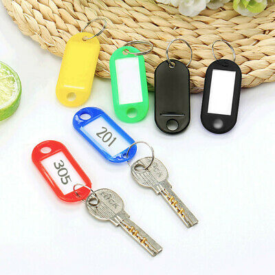50x Mixed Plastic Colour Key Tags with Paper Inserts Split Rings Key Identifier