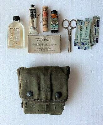 "Original WWII US Army USMC 1944 Dated ""Jungle First Aid Kit"" With Contents"