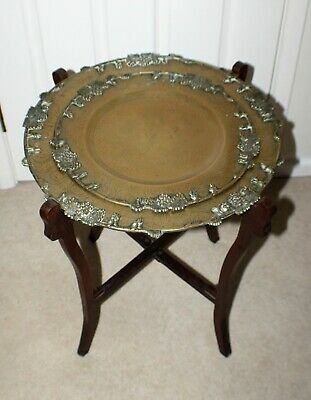 Victorian Folding Chinese Brass 2 Tray Table - Side/Lamp Table/Aesthetic Era