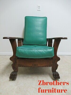 Antique Oak Morris Leather Lounge Living Room Chairs Paw Foot