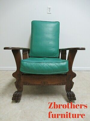 Antique Oak Morris style Leather Lounge Living Room Chair Paw Foot