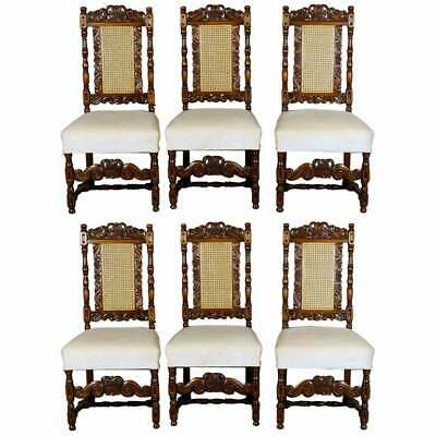 6 Vintage Carved Walnut Gothic Style Dining Chairs by Kittinger, 20th Century