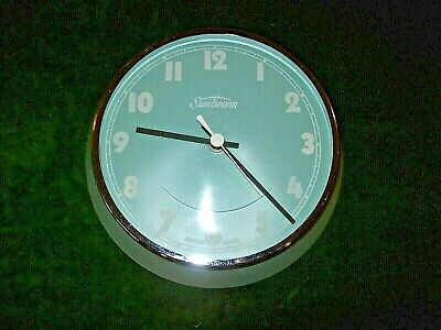 Mid Century-'Sunbeam' Kitchen Wall clock-Early Battery Type-Green frame & Face