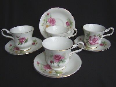 Vintage Royal Grafton 4 X Mismatched China Coffee Cups & Saucers - Pink Roses.