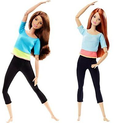 Barbie Made to Move Doll BLUE + Light Blue Top Brunette Red Hair Freckles DPP74