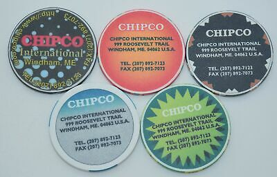 Set of 5 $1-$5-$25-$100 Manufacturing Advertisement ChipCo. Chips