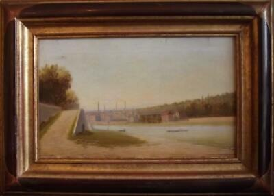 19th Century FRENCH PRIMITIVE Oil Painting Smoking Chimneys Industrial Landscape