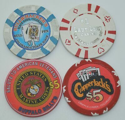 Set of 4 Mix Colorado $1-$5 Casino Chips Crapper Jack's-Lady Luck-Buffalo Billys