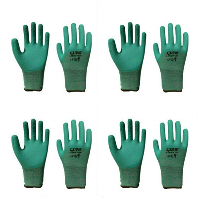 4 Pairs of Gardening Gloves Green Non Slip with Latex for Gardening Clamming for
