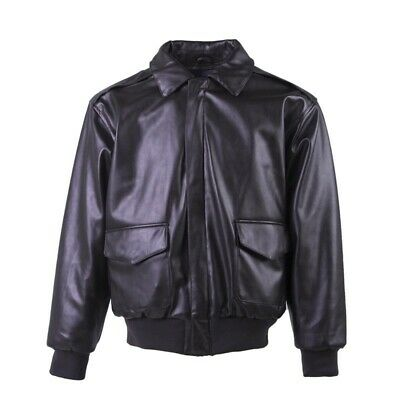 Men's Leather Jacket Military Fly Air Force Flight Motorcycle Coat Bomber Casual