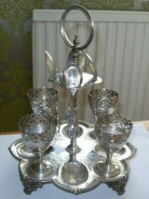 Antique Ornate Silver Plated Egg Cruet Egg Cup Stand  Pierced Plated Egg Cups