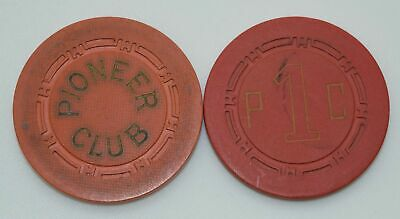 1950's Set of 2 Pioneer Club Casino Chips Las Vegas Nevada H.C.E. Mold