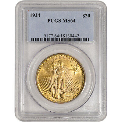 1924 US Gold $20 Saint-Gaudens Double Eagle - PCGS MS64