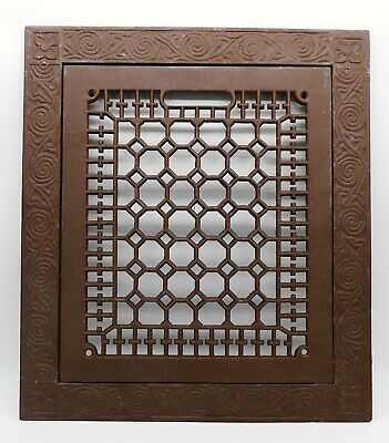 Antique Architectural CAST IRON Victorian 2-Piece Floor Grate Frame & Door Cover