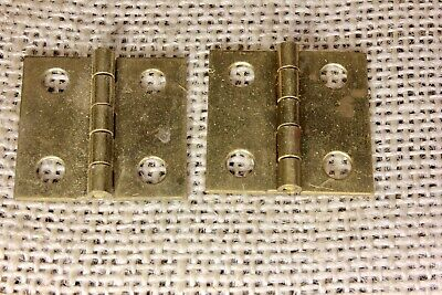 "2 small Cabinet door hinges shutter NOS all solid brass 1 x 1 1/16"" jewelry box"