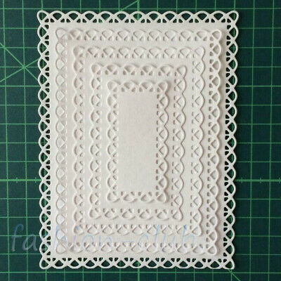 Lace Metal Cutting Dies Nested Stitched Scallop Rectangle Frame Card Making DIY