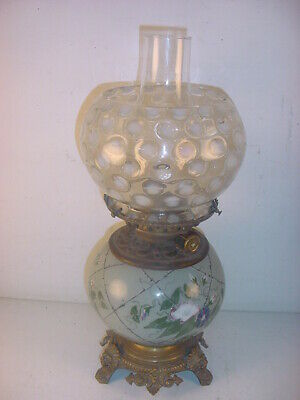 1880's AESTHETIC ART POTTERY OIL LAMP~FRENCH?LONGWY?~OPALESCENT COINDOT SHADE