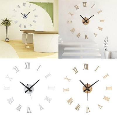 3D DIY Luxury Wall Clock Roman Numeral Mirror Sticker Home Living Room Art Décor
