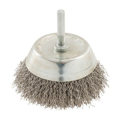 75mm Rotary Stainless Steel Wire Cup Brush- 6mm Power Drill Shank Chuck- Metal